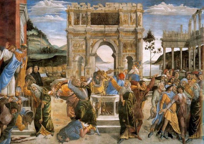 Botticelli, Sandro: The Punishment of Korah and the Stoning of Moses and Aaron.  (001888)